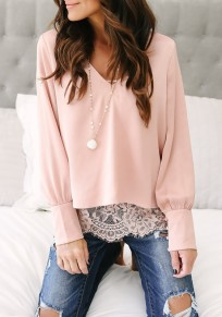 Pink Patchwork Lace V-neck Long Sleeve Fashion False 2-in-1 Blouse