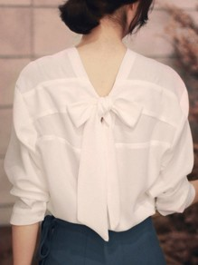 White Single Breasted Bow Ribbons V-neck Long Sleeve Fashion Blouse