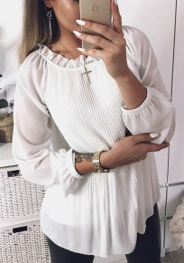White Pleated Petal Neck Long Sleeve Sweet Blouse