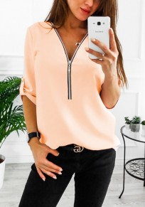 Orange Zipper Studded V-neck Long Sleeve Fashion Blouse