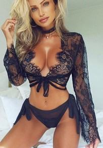 Black Lace Plunging Neckline Long Sleeve Fashion Blouse