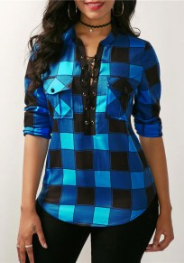 Blue Plaid Print Pockets Drawstring V-neck Long Sleeve Casual Blouse