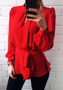 Red Sashes Buttons Cut Out Backless Peplum Lantern Sleeve Cute Blouse