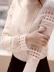 White Lace Patchwork Round Neck Long Sleeve Elegant Blouse