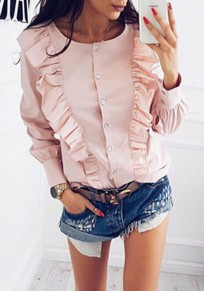 Pink Ruffle Buttons Single Breasted Cute Round Neck Blouse