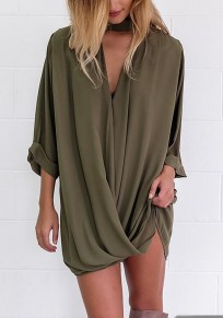 Army Green Irregular V-neck Chiffon Elbow Sleeve Fashion Blouse