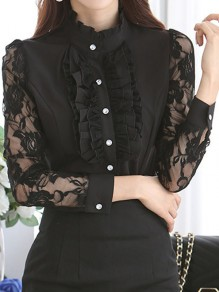 Black Patchwork Lace Ruffle Buttons Band Collar Long Sleeve Office Worker Blouse
