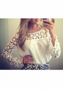 White Patchwork Lace Cut Out Chiffon Sweet Going out Blouse
