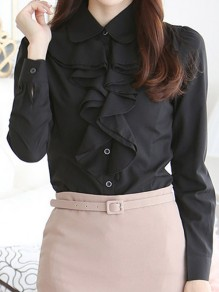Black Ruffle Buttons Peter Pan Collar Long Sleeve Office Worker Blouse