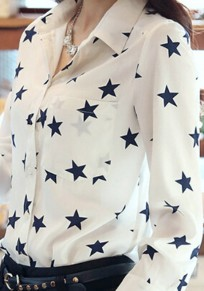 White Star Floral Print Turndown Collar V-neck Long Sleeve Blouse