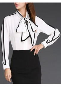 White Bow Round Neck Long Sleeve Chiffon Blouse