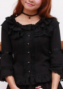 Black Lace Single Breasted Bell Sleeve Sweet Cute Blouse