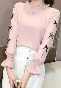 Pink Bow Flare Sleeve Sweet Office Worker/Daily Blouse