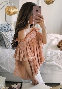 Pink Pleated Ruffle Off Shoulder Fashion Summer Chiffon Blouse