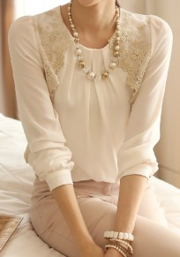 Beige Patchwork Lace Round Neck Elegant Office Worker/Daily Blouse