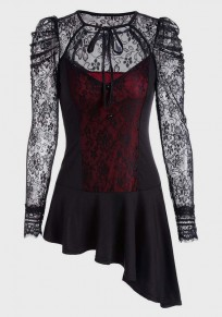 Red Cross Irregular Draped Lace Lace-up Going out Blouse