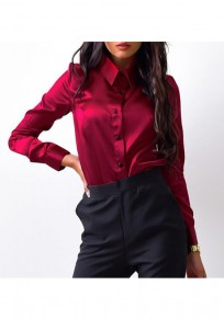 Wine Red Single Breasted Turndown Collar Long Sleeve Blouse