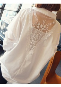 White Patchwork Lace High-low V-neck Long Sleeve Elegant Blouse