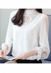 White Lace Cut Out Lantern Sleeve Office Worker/Daily Going out Blouse