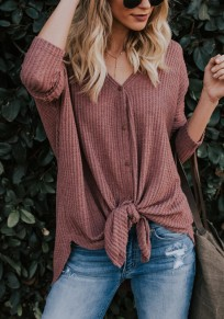 Burgundy Buttons Knot V-neck Going out Casual Blouse