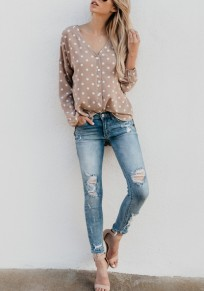 Khaki Polka Dot Single Breasted V-neck Sweet Going out Blouse