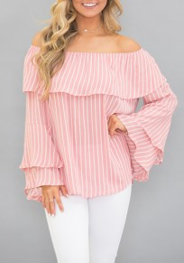 Pink-White Striped Ruffle Off Shoulder Backless Flare Sleeve Cute Blouse