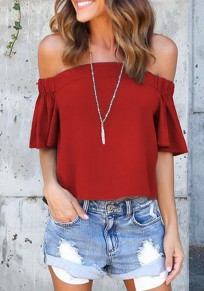 Red Pleated Off Shoulder Backless Casual Going out Blouse