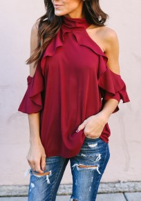 Burgundy Ruffle Halter Neck 3/4 Sleeve Ladies Casual Going out Blouse