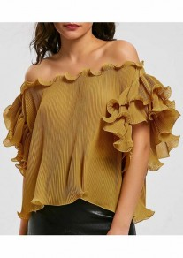 Yellow Irregular Ruffle Pleated Boat Neck Short Sleeve Blouse