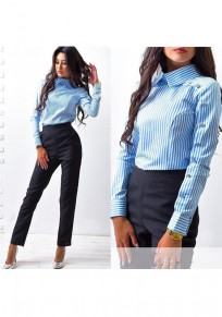 Blue Striped Buttons Turndown Collar Long Sleeve Office Worker/Daily Blouse