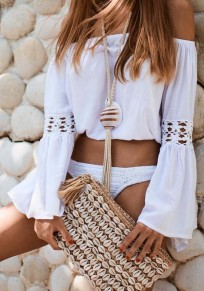 White Cut Out Ruffle Boat Neck Long Sleeve Blouse