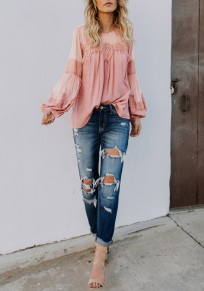 Pink Patchwork Lace Grenadine Round Neck Long Sleeve Casual Blouse