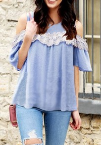 Blue Lace Draped Cut Out Sleeve Plus Size Sweet Going out Blouse