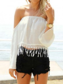 White Patchwork Tassel Boat Neck Long Sleeve Fashion Blouse