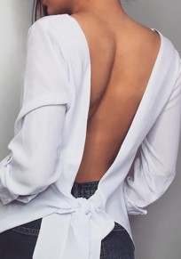 White Cut Out Knot Backless Round Neck Cute Casual Blouse