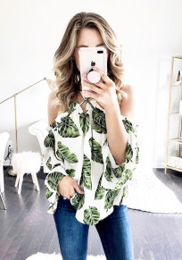 Green Floral Cut Out Backless Fashion Blouse