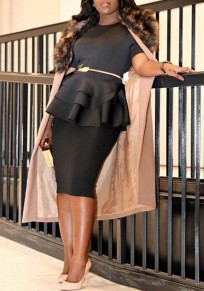Black Cascading Ruffle High Waisted Peplum Formal Office Worker/Daily Elegant Blouse