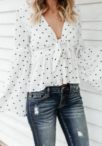 White Polka Dot Draped Bow Peplum Deep V-neck Flare Sleeve Casual Sweet Blouse