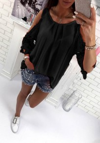 Black Patchwork Cut Out Tie Back Round Neck Casual Blouse