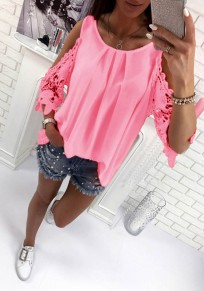 Pink Patchwork Cut Out Tie Back Round Neck Casual Blouse