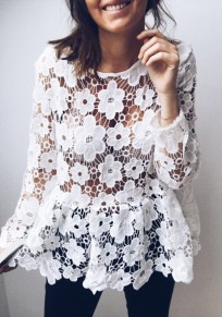 White Floral Lace Cut Out Sheer Going out Sweet Blouse