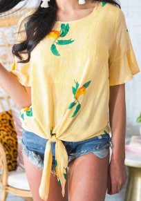 Yellow Floral Print Knot Round Neck Bohemian Sweet Blouse