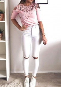 Pink Flowers Lace Cut Out Round Neck Casual Blouse