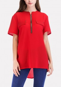 Red Irregular Zipper High-low Casual Office Worker/Daily Blouse