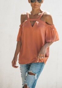 Pink Cut Out V-neck Elbow Sleeve Fashion Blouse