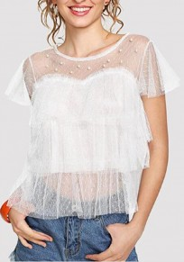 White Beaded Beading Grenadine Cascading Ruffle Going out Sweet Blouse
