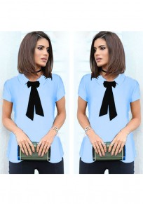 Blue Single Breasted Ribbons Turndown Collar Fashion Blouse