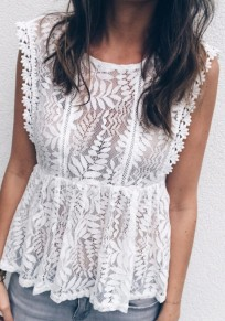 White Floral Pleated Lace Cut Out Peplum Going out Blouse