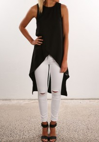 Black Plain Irregular Cut Out Round Neck Fashion Blouse