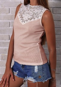 Pink Patchwork Lace Round Neck Sleeveless Fashion Blouse
